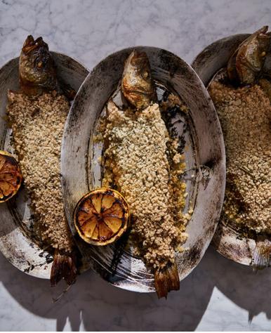 Seabass baked in Salt